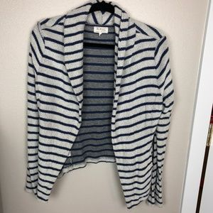 Lou & Grey Striped Open Front Cardigan Size M